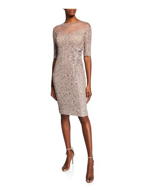 Rickie Freeman for Teri Jon Off-the-Shoulder Illusion Elbow-Sleeve Lace Sheath Dress w/ Sequins