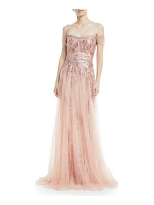 Rickie Freeman for Teri Jon Off-the-Shoulder Sequin Lace Gown with Tulle Overlay