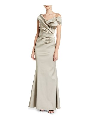 Rickie Freeman for Teri Jon One-Shoulder Stretch Gazar Draped Trumpet Gown