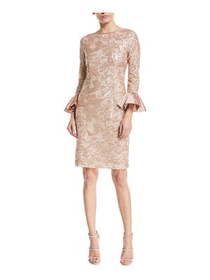RICKIE FREEMAN FOR TERI JON Sequin Taffeta Bell-Cuff Cocktail Dress