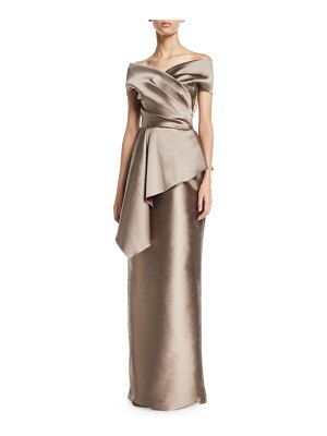 Rickie Freeman for Teri Jon Stretch Gazar Off-Shoulder Peplum Column Gown