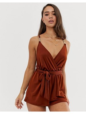 River Island beach romper with metal trim in brown