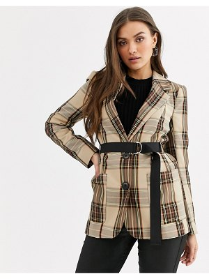 River Island belted blazer in check two-piece-brown