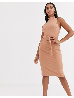 River Island belted utility dress in camel-brown