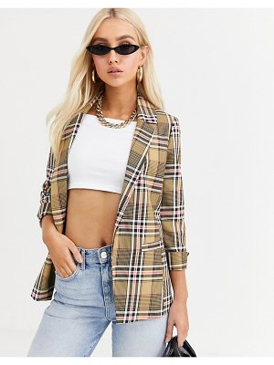 River Island blazer in fluro check-brown