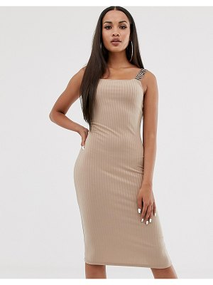 River Island bodycon midi dress in beige
