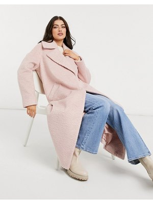 River Island brushed oversized maxi coat in pink