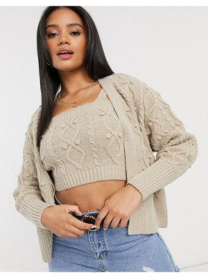 River Island cable knit bralet and cardi set in beige