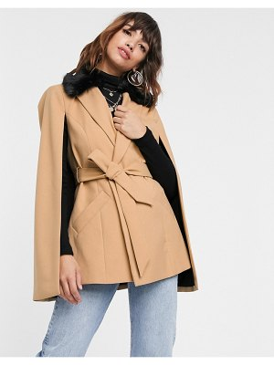 River Island cape jacket with contrast faux fur collar in camel-tan