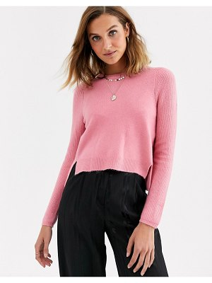 River Island cropped sweater in pink