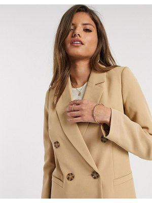 River Island double breasted blazer in camel-brown