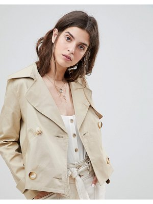River Island double breasted cropped trench coat-beige