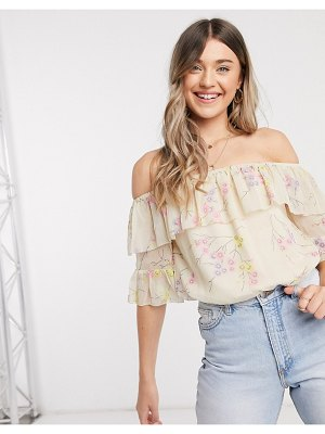 River Island floral print bardot frill blouse in cream
