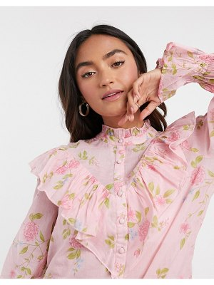 River Island floral ruffle blouse in pink
