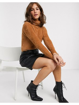 River Island fluffy cropped sweater with roll neck in camel-tan