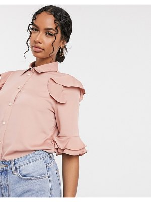 River Island frill front shirt in pink