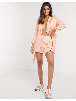 River Island frill sheen two-piece shorts in coral-pink