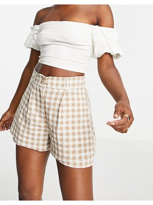 River Island gingham plaid shorts in brown