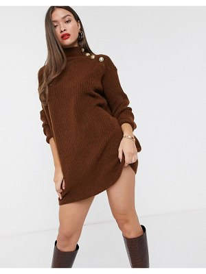 River Island high neck sweater dress with buttoned shoulder in toffee-brown