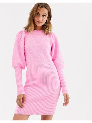 River Island knitted dress with puff sleeves and stitch detail in pink