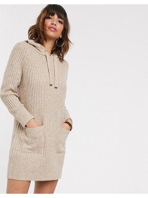 River Island knitted hoody dress in oatmeal-beige