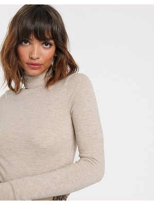 River Island knitted roll neck top in oatmeal-beige