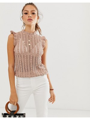 River Island knitted tank top with frill sleeves in beige