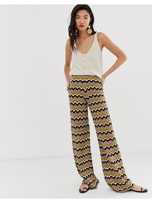 River Island knitted wide leg pants in zig zag print-brown