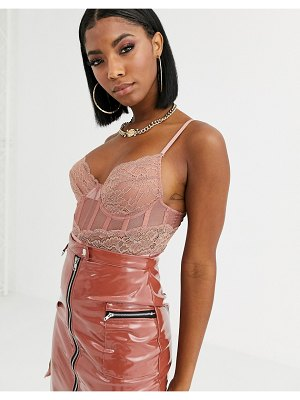 River Island lace corset body in pink