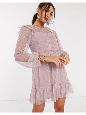 River Island long sleeve frill shirred mesh dress in pink
