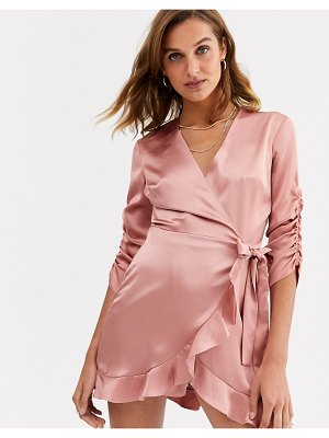 River Island long sleeve wrap satin romper in dusty pink