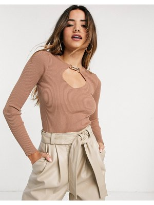 River Island long sleeved cut out knit top with embellished clasp in brown