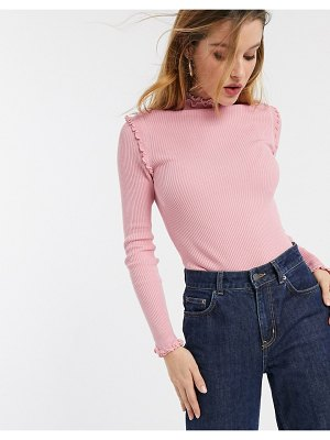 River Island long sleeved lettuce edge t-shirt in pink