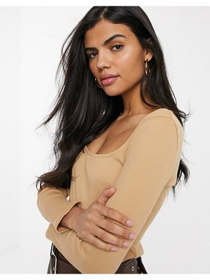 River Island long sleeved square neck top in camel-tan