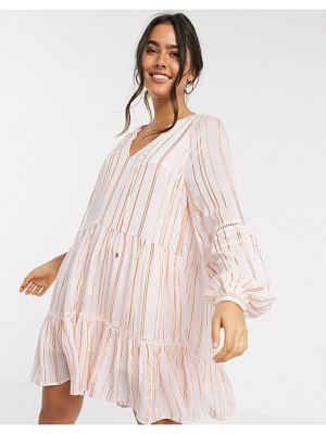 River Island metallic thread stripe smock mini dress in pink