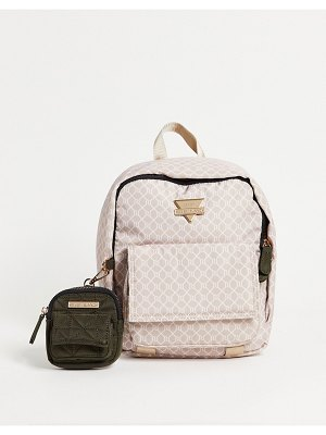 River Island monogram nylon backpack with pouch in pink