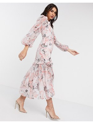 River Island paisley long sleeved dress in pink