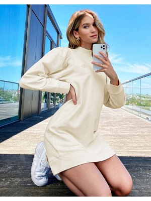 River Island pleat sleeve sweat dress in beige