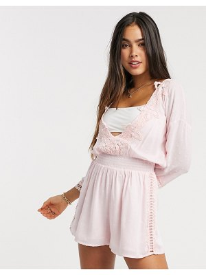 River Island plunge lace trim long sleeve beach romper in pink