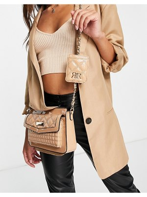 River Island quilted chain cross body bag in beige-neutral
