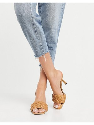 River Island quilted heeled sandals in camel-neutral