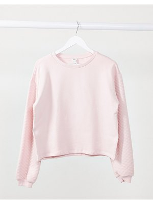 River Island quilted long-sleeve sweatshirt in pink