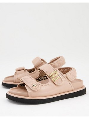 River Island quilted sporty flat sandals in beige-neutral