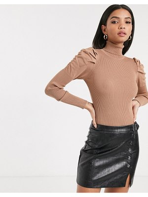 River Island roll neck sweater with puff sleeves in camel-tan