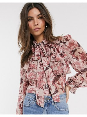 River Island ruffled blouse in pink floral print