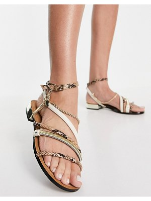 River Island snake and rope detail flat sandals in brown