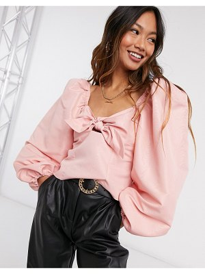 River Island square neck bow front top in pink
