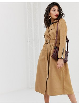 River Island suedette trench coat with belt in camel-beige