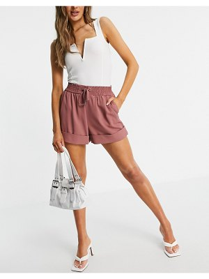 River Island tailored runner set shorts in pink