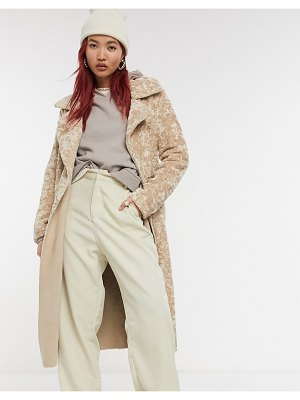 River Island teddy trench style coat in cream